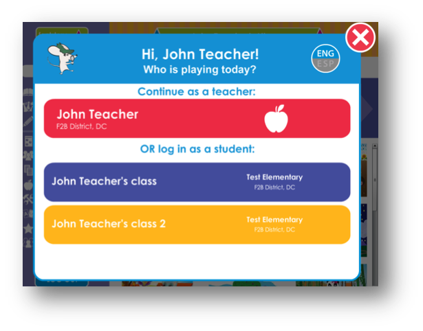 Image of popup when parent or teacher logs in to Footsteps2Brilliance.